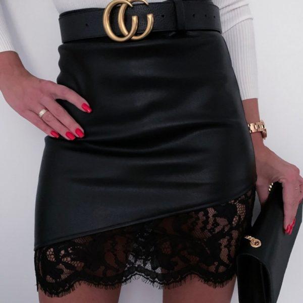 Dámská koženková sukně s krajkou Sarai