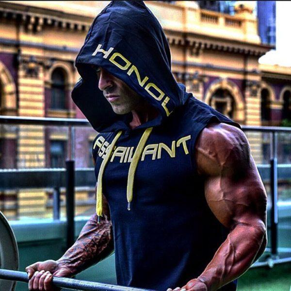 Pánské fitness triko s kapucí Damone