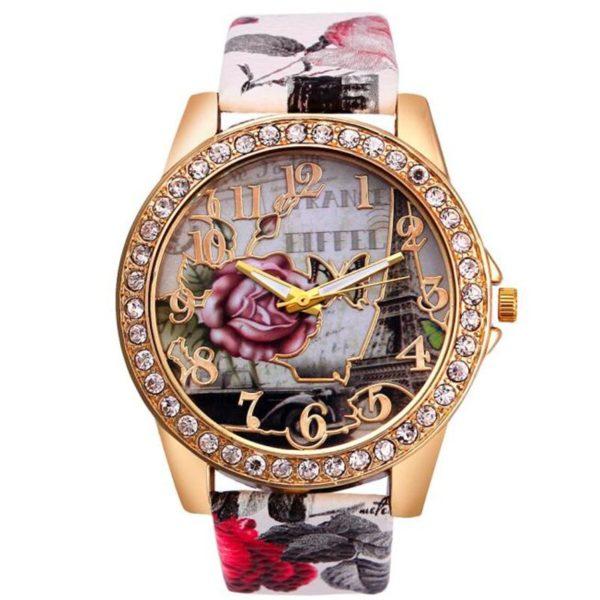 Dámské hodinky s koženým páskem Rose