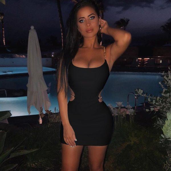 Dámské sexy mini šaty s řetízky