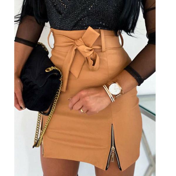 Dámská koženková sukně s vysokým pasem