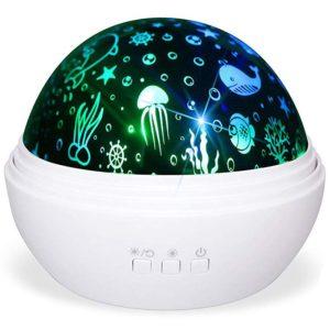 Noční projektor se dvěmi motivy – hvězdná obloha, podmořský svět