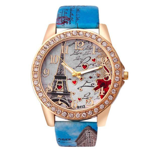 Dámské hodinky s koženým páskem Paris