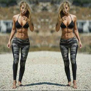 Dámské fitness běžecké maskáčové army legíny