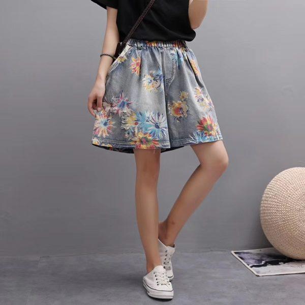 Dámské moderní džínové šortky s výšivkou Amelie