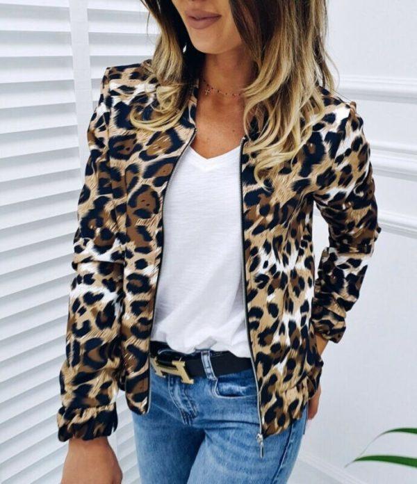 Dámská elegantní bundička s leopardím vzorem Scarlet