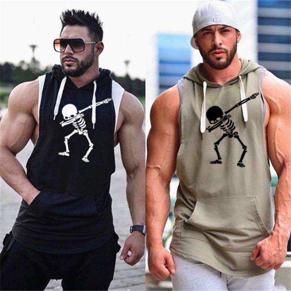 Pánské fitness triko s kapucí Skeleton