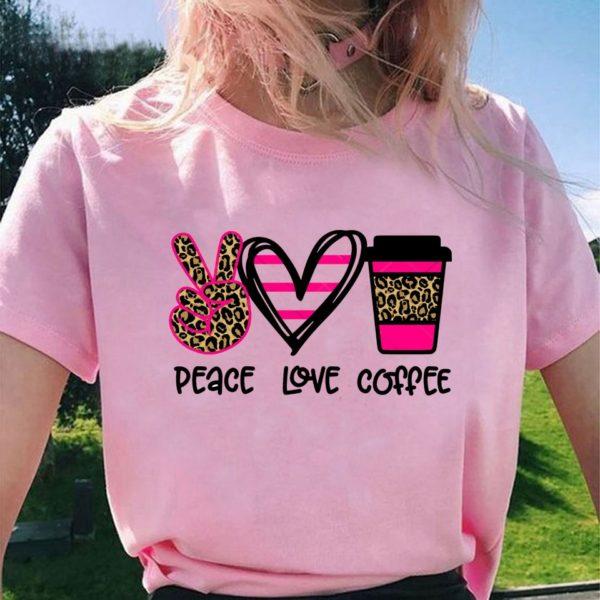 Dámské trendy tričko Peace Love Coffee