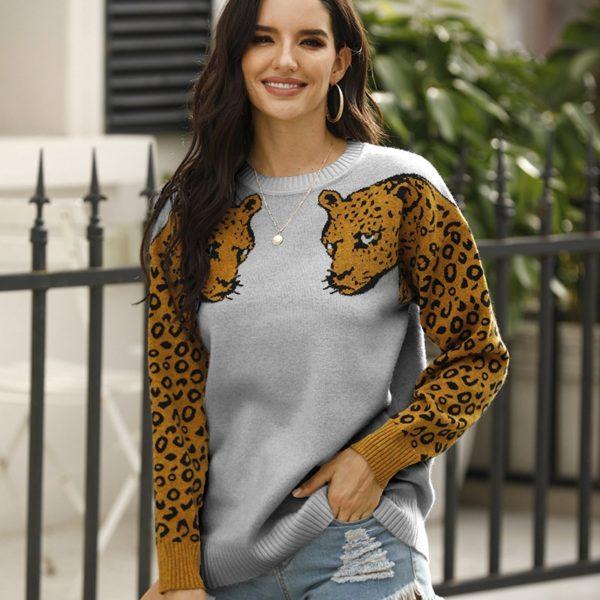 Dámský trendy svetr s leopardem Celeste