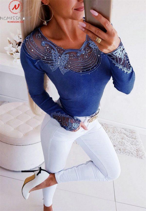 Dámské elegantní triko s dlouhým rukávem