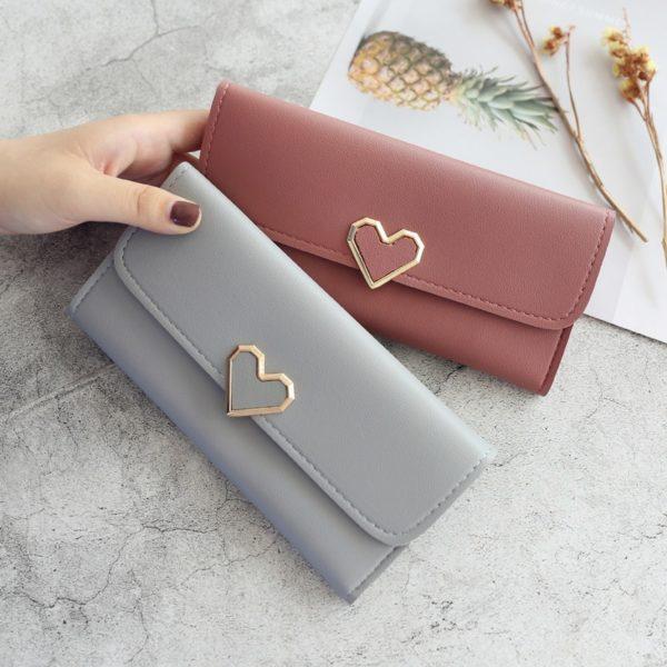 Dámská módní kožená peněženka Heart