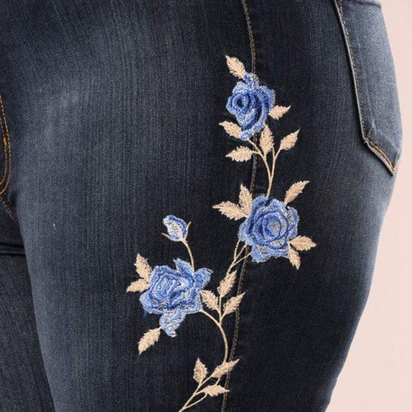 Dámské módní skinny džíny s výšivkou Delaney