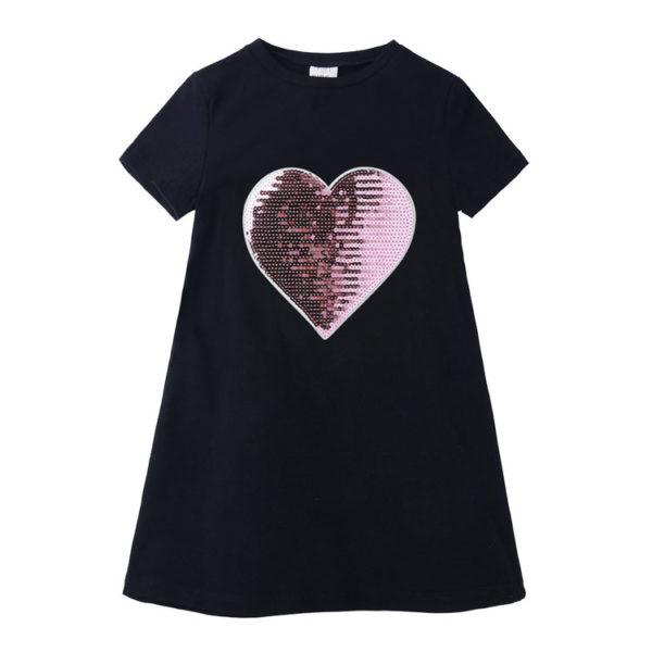 Dívčí letní šaty s flitry Heart