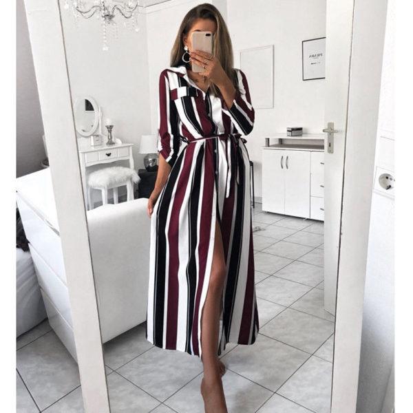 Dámské dlouhé pruhované šaty Mia