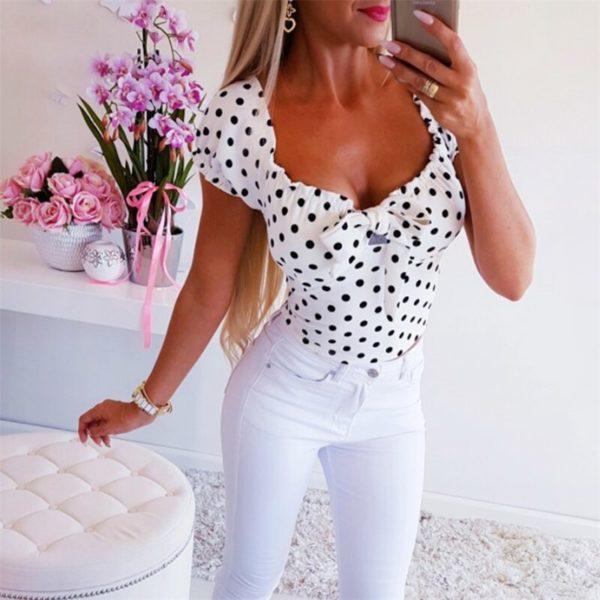 Dámské elegantní puntíkaté tričko Sienna