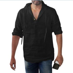 Pánská ležérní lněná košile s kapucí Duran