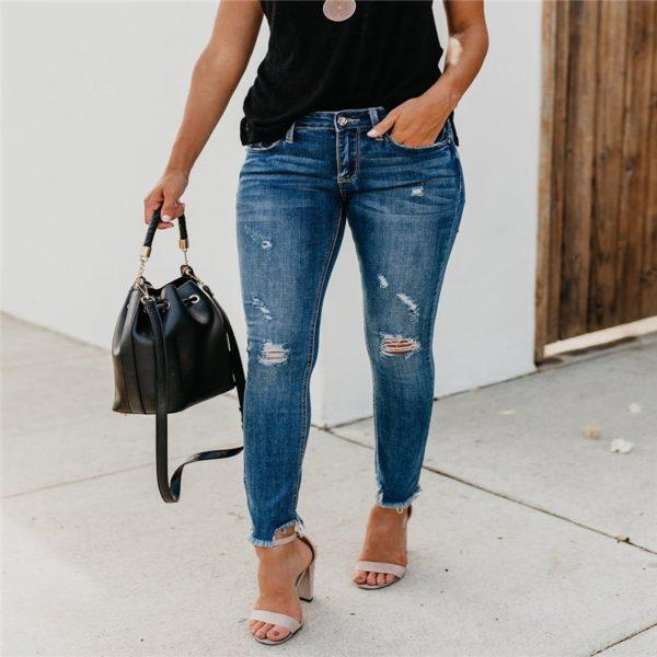 Dámské klasické trhané džíny Alanna