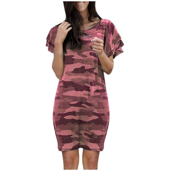 Dámské krátké maskáčové šaty Olive – kolekce 2020