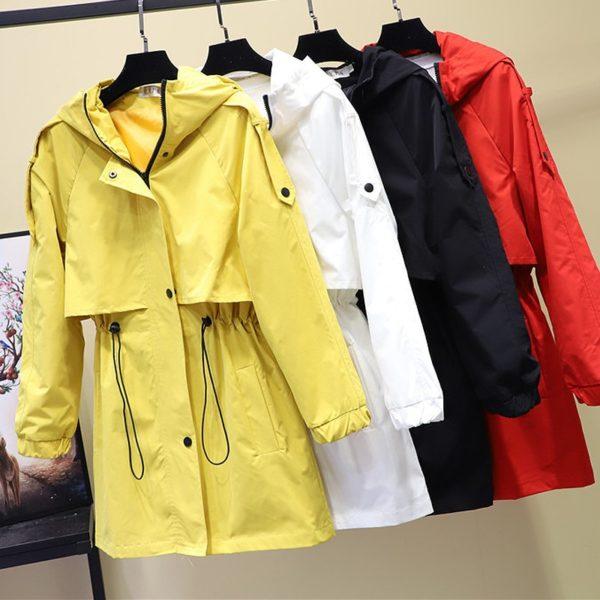 Dámský podzimní módní kabát s kapucí Mirriel