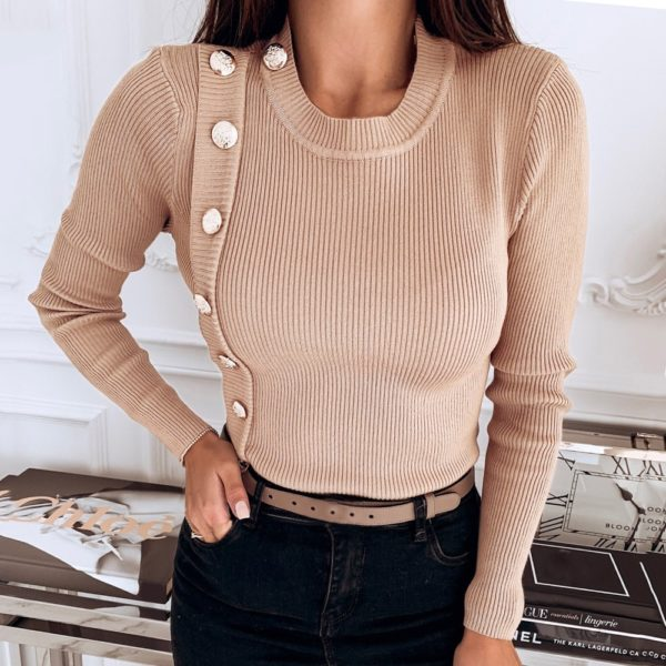 Women Sweaters 2019 Autumn Winter Fashion Long Sleeve Buttons Solid Turtleneck Stretch Sweater Pullovers Tops Sweater for female