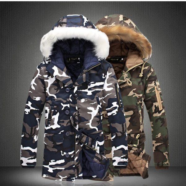 Pánská stylová zimní bunda s kapucí Camo