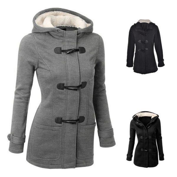 Dámský zimní kabát s kapucí