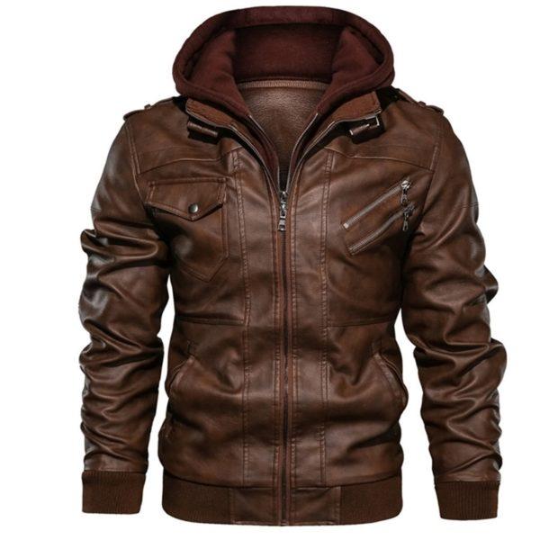 Pánská kožená bunda s kapucí Johnson