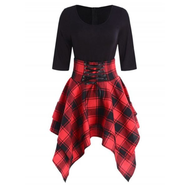 Podzimní šaty s kostkovanou sukní