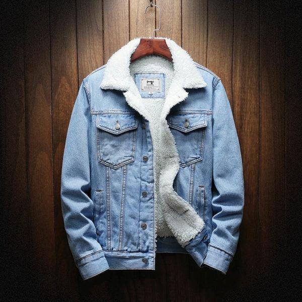 Pánská džínsová vyteplená bunda s límcem