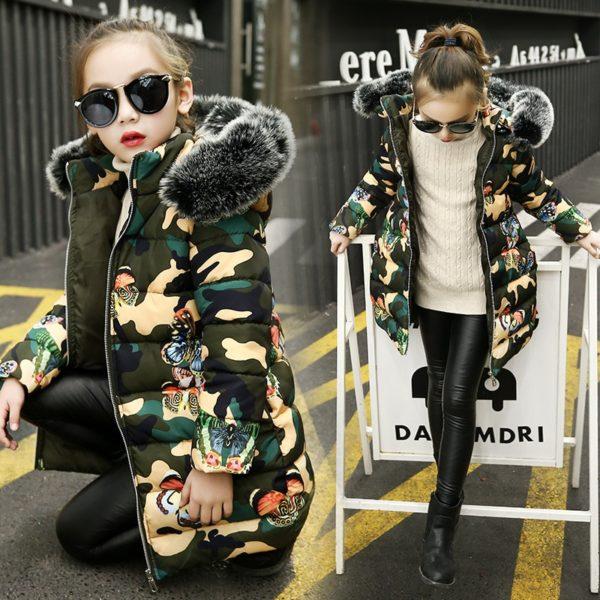Luxusní dívčí zimní Army bunda s motýly