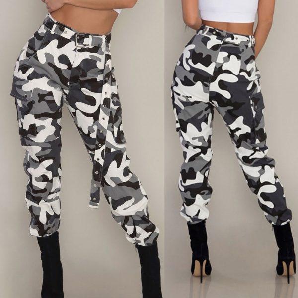 Maskáčové dámské kalhoty