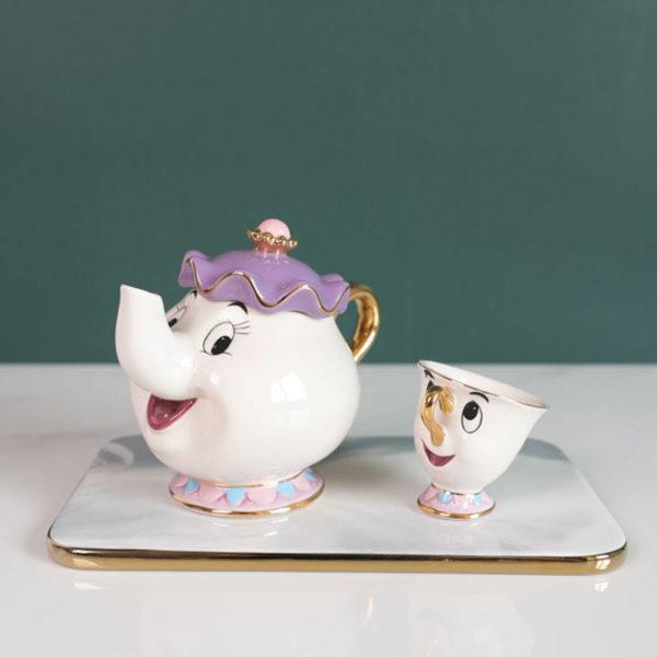 Krásný keramický čajový set Kráska a zvíře