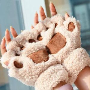 Dámské teplé bezprsté rukavice ve tvaru tlapy