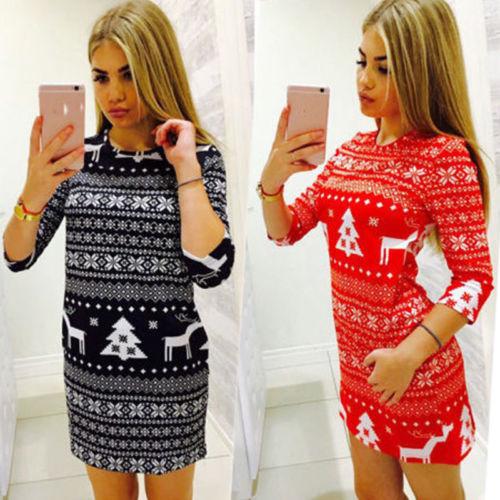 Vánoční mini šaty se vzorem sobů a stromů
