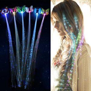Umělé pramínky vlasů se svítícím motýlkem