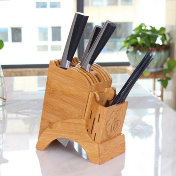 Bambusový stojan na nože a ostatní kuchyňské náčiní