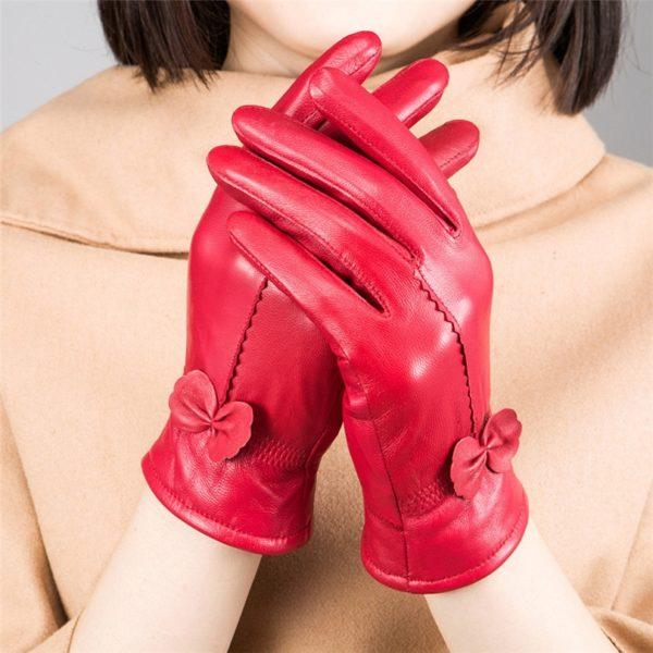 Dámské kožené rukavice s mašličkou