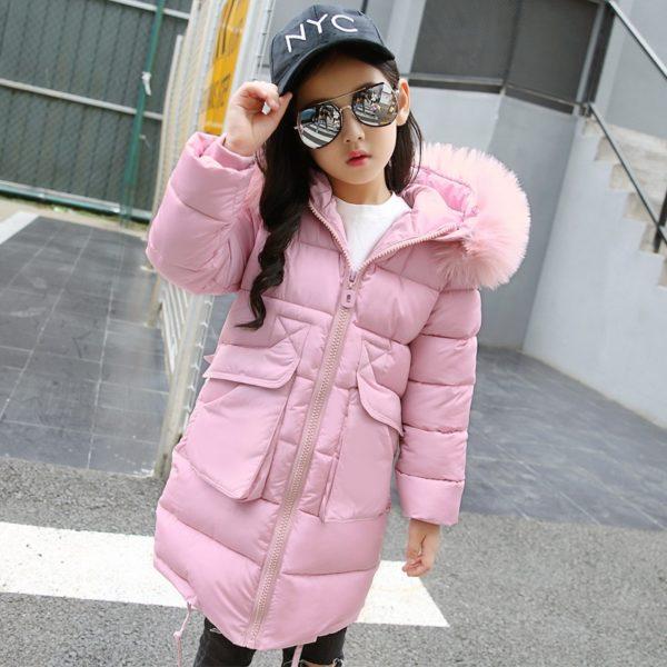 Dívčí kabát s chlupatým límcem Lia