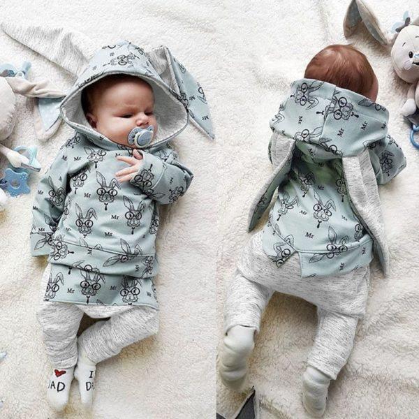 Novorozenecký set mikina s dlouhými oušky a tepláky