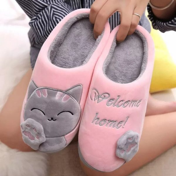 Dámské huňaté papuče na doma s kočičkou