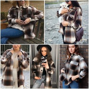 Retro volnočasový kostkovaný dámský kabát Ayn