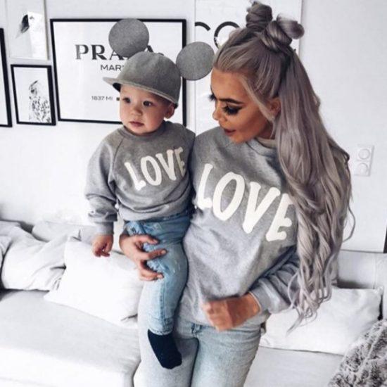 Rodinná Love mikina pro maminku a dítě