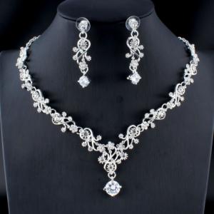 Set dámských svatebních šperků - náhrdelník + náušnice
