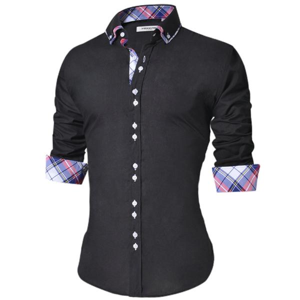 Neformální pánská slim fit košile s dlouhým rukávem