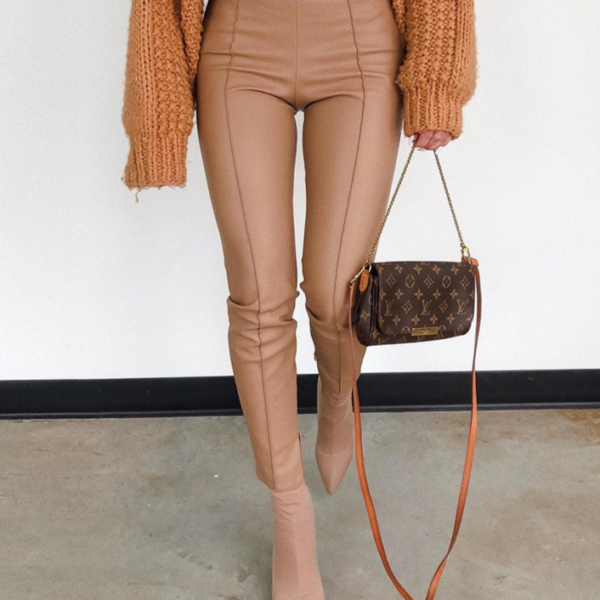 Dámské módní kožené kalhoty s vysokým pasem