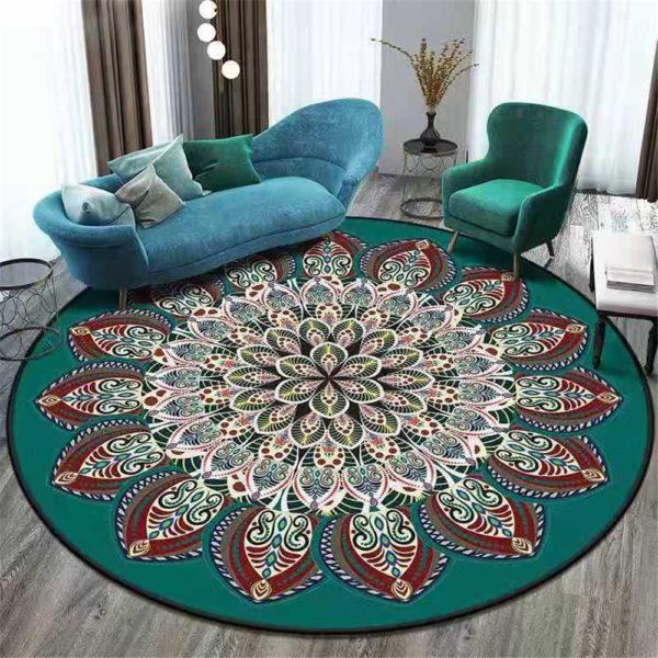 Kulatý koberec v bohémském stylu