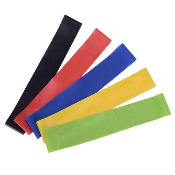 5 barevných posilovacích gumových pásů + taška