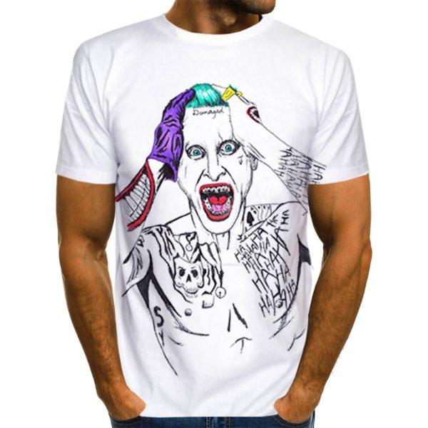3D pánské bílé tričko Joker s krátkým rukávem