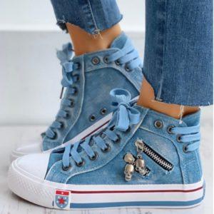 Stylové džínové kotníkové boty