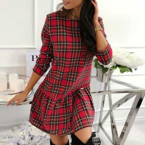 Trendy dámské košilové kostkované šaty s 3/4 rukávem